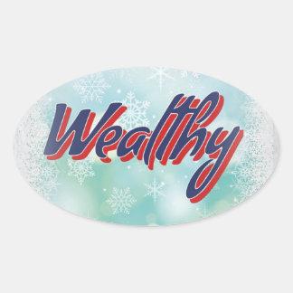 Sticker Ovale Les incantations chanceuses : Sage sain et riche