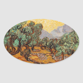 Sticker Ovale Les oliviers de Vincent Van Gogh (Olives trees)