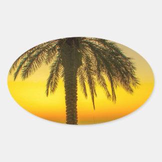 Sticker Ovale Lever de soleil de palmier