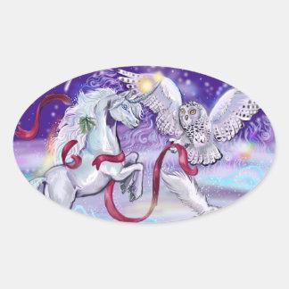 Sticker Ovale Licorne magique d'hiver