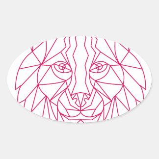 Sticker Ovale Ligne mono de tête de chat sauvage de Lynx