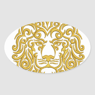Sticker Ovale lion d'or dans la couronne - imitation de broderie