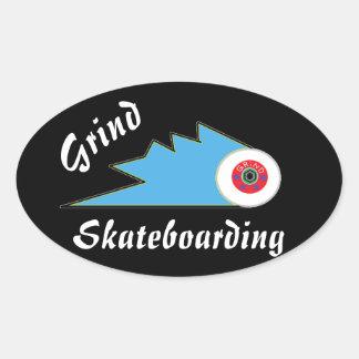 Sticker Ovale logo sportif d'habillement de planche à roulettes