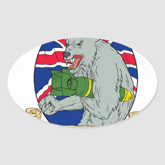 Sticker Ovale Loup gris tenant le dessin d'Union Jack de bombe