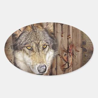 Sticker Ovale Loup indien indigène de receveur rêveur occidental