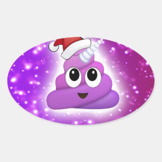 Sticker Ovale Lueur mignonne d'Emoji de dunette de licorne de