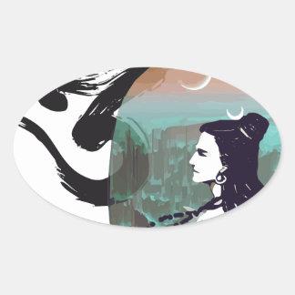 Sticker Ovale Lune Shiva en hausse