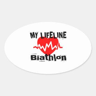 Sticker Ovale Ma ligne de vie biathlon folâtre des conceptions