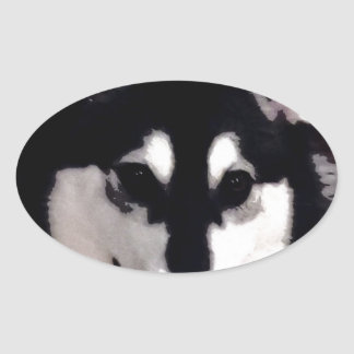 Sticker Ovale Malamute d'Alaska de sourire noir et blanc
