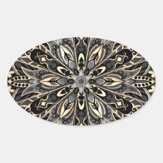 Sticker Ovale Mandala noir et brun géométrique tribal