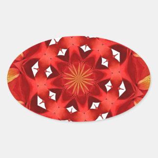 Sticker Ovale Mandala rouge de camélia