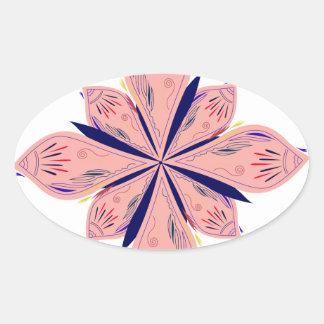 Sticker Ovale Mandalas d'or de rosé