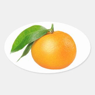 Sticker Ovale Mandarine avec la feuille