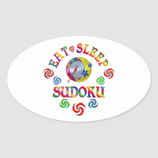 Sticker Ovale Mangez le sommeil Sudoku