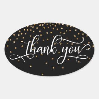 Sticker Ovale Manuscrit élégant de Merci, confettis d'or sur le