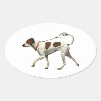 Sticker Ovale Marcheur de chien - queue de chien - saint Germain