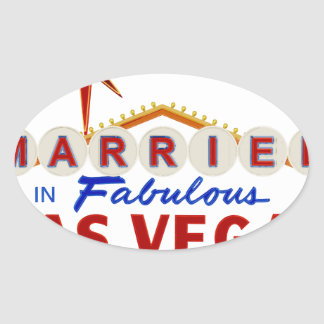 Sticker Ovale Marié à Las Vegas fabuleux, enseigne au néon du