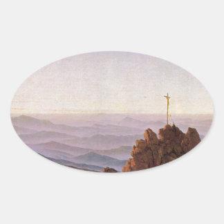 Sticker Ovale Matin dans Riesengebirge - Caspar David Friedrich