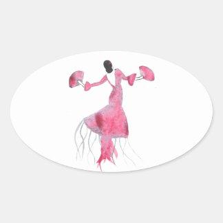 Sticker Ovale Méduses de flamenco - Sabrina