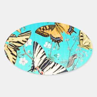 Sticker Ovale Mélange bleu de papillon