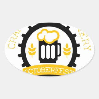 Sticker Ovale Modèle de conception de logo de bière avec la
