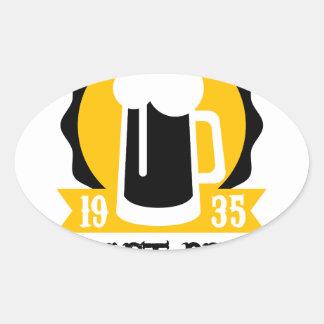 Sticker Ovale Modèle de conception de logo de bière de métier