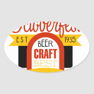 Sticker Ovale Modèle de conception de logo d'Oktoberfest