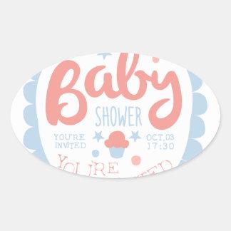 Sticker Ovale Modèle de conception d'invitation de baby shower