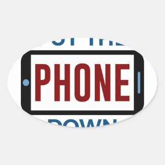 Sticker Ovale Moins de téléphone plus de contact humain de