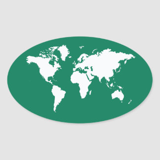 Sticker Ovale Monde élégant vert