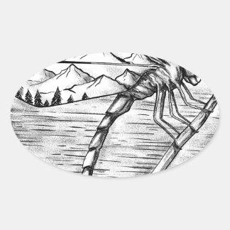 Sticker Ovale Montagne de libellule à l'intérieur de tatouage