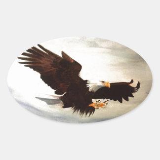 Sticker Ovale Montée d'Eagle chauve