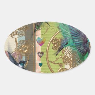 Sticker Ovale motif coeur