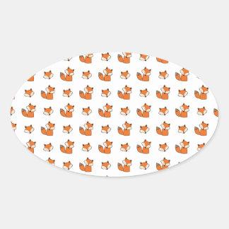 Sticker Ovale motif de renards rouges