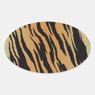 Sticker Ovale Motif de tigre