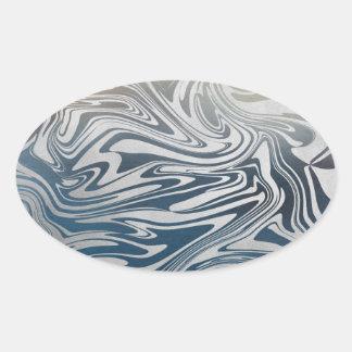 Sticker Ovale Motif liquide argenté abstrait
