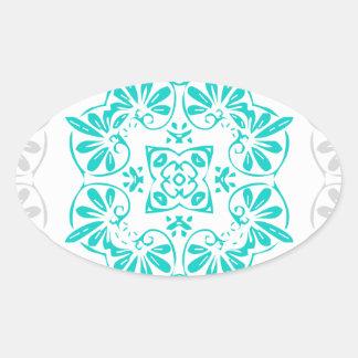 Sticker Ovale Motif moderne de damassé de kaléidoscope de