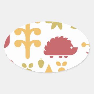 Sticker Ovale Motif sans couture d'automne avec la forêt