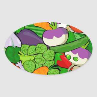 Sticker Ovale Motif végétal