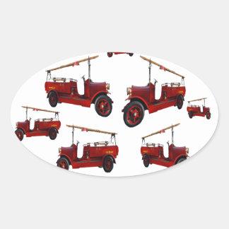 Sticker Ovale Motif vintage rouge de camion de pompiers,