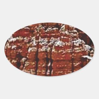 Sticker Ovale mur de roche de forme de forme d'érosion