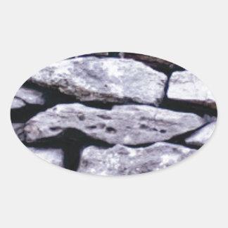 Sticker Ovale mur empilé de roche