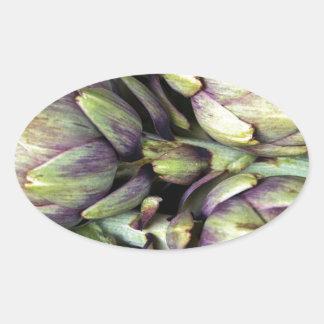 Sticker Ovale Natures mortes siciliennes avec des artichauts