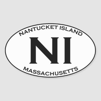 Sticker Ovale Ni - Île le Massachusetts de Nantucket