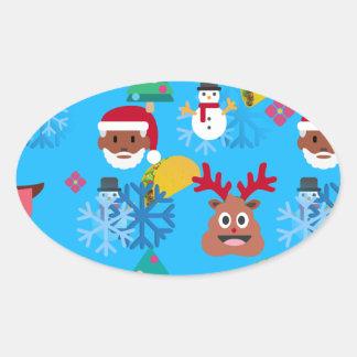 Sticker Ovale Noël noir de taco de père Noël