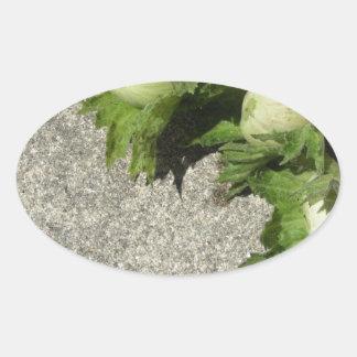 Sticker Ovale Noisettes vertes fraîches sur le plancher