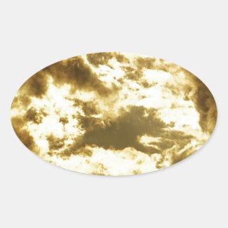 Sticker Ovale Nuage doré