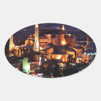Sticker Ovale Nuit de Hagia Sophia