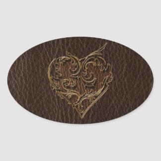Sticker Ovale Obscurité simili cuir de coeur