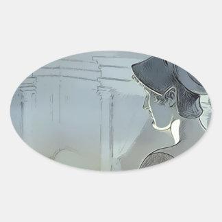Sticker Ovale Observé par Raven